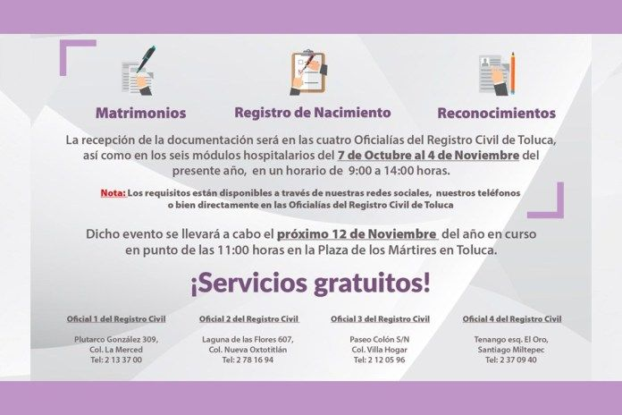 Regularización Gratuita En Toluca Del Estado Civil De Las
