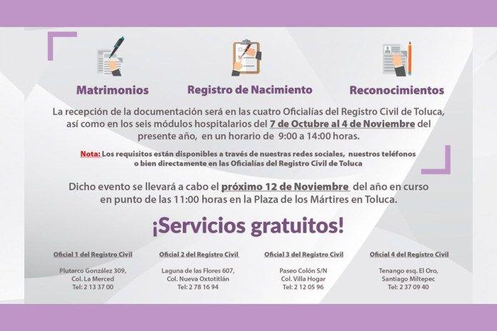 Regularización Gratuita En Toluca Del Estado Civil De Las